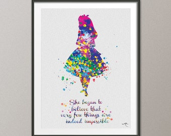 Alice in Wonderland Watercolor Print inspirational Quote Nursery Wall Art Wall Decor Home Decor for girls baby shower Wall Hanging [NO 633]