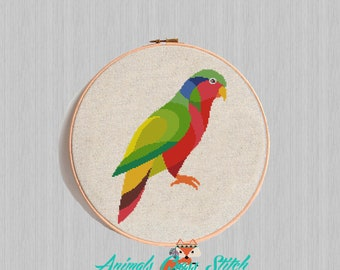 Parrot cross stitch pattern Bird Geometric Modern Counted Cross Stitch Watercolor Animal Embroidery Chart Easy Funny Birth diy gift