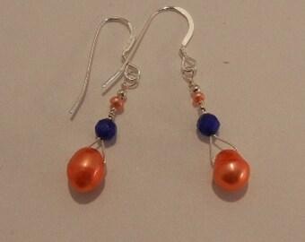 Orange Freshwater Pearl, Sapphire Earrings, SS Earwires