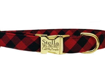 Personalized Laser Engraved Gold Metal Buckle Buffalo Plaid Check Dog Collar- All Sizes - 2-3 Week Ship Time