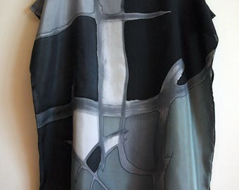 Silk blouse hand painted-Silk scarf-Wedding blouse- Scarves for her-Wedding silk top-Silk handpainted - Black-grey-white  silk blouse