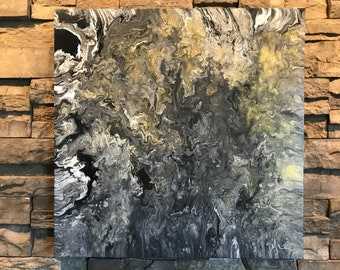 "Original Fluid Painting 24""x24"" on Canvas Golds Greys Neutral Art"