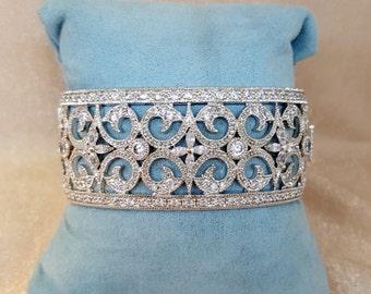 Vintage Inspired Bridal Cuff, Bridal Bracelet, Bridal Jewelry, Vintage Jewelry, Swarovski Bridal Bracelet