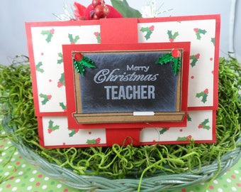 Teacher Christmas Gift Card Holder -- Teacher Christmas Gift -- Christmas Gift for Teacher -- Teacher Gift Card Holder for Christmas