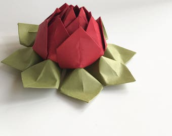Handmade Lotus Flower - Origami paper flower - Deep Red, Moss Green - romantic gift, decoration, anniversary - can be shipped directly