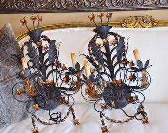 Pair Antique Wrought Iron and Gilt Italian Tole Wall Sconces