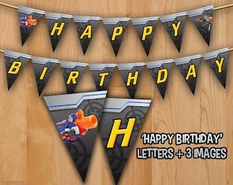 Dart Banner - INSTANT DOWNLOAD - Dart Tag Gun Banner Printable -  Happy Birthday Dart war Gun Decorations Ideas