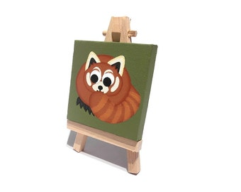 Red Panda original mini painting - small acrylic art of a cute forest animal on a green background, miniature canvas, with easel or hanging