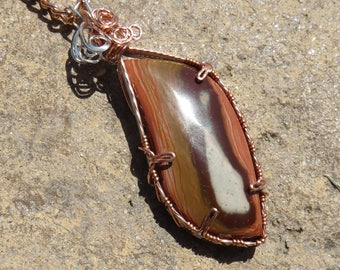 S-142 Agate Copper Sterling Silver Wire Wrapped Gemstone Pendant Necklace, Agate Pendant, Agate Necklace