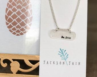 Be Still necklace * shrink plastic