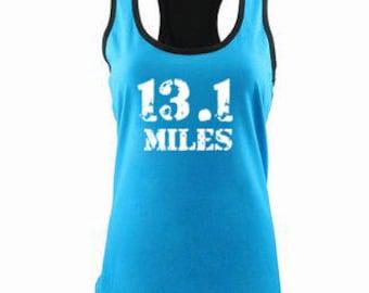 13.1 Miles  Running Tank Half Marathon Tank Color Block Tank Half Marathon Training Funny Half Marathon Tank