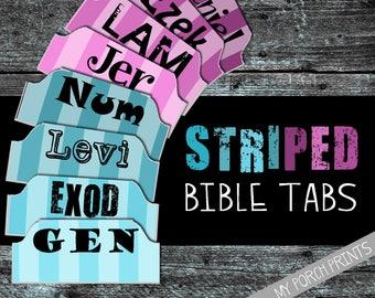 Bible Tabs, Striped, Bible tabs printable, bible tabs download, bible tabs watercolor, bible journal tabs, bible journaling, printable tabs