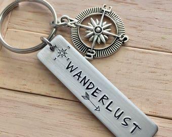 Envie de voyager ~ poids léger en aluminium-clé avec charme Compass ~ mise à jour