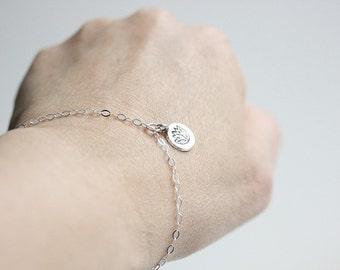 Yoga Lotus bracelet - Lotus flower bracelet - Charm bracelet - Sterling Silver Lotus flower print charm Bracelet -Gift for her