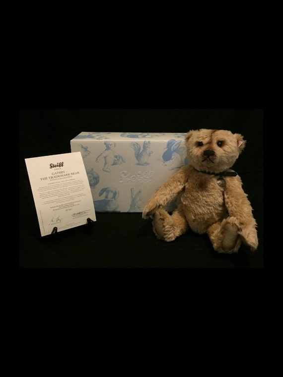 "FREE SHIPPING--15"" Standing-Steiff-Gatsby-Jointed-Brown-Mohair-Made Germany-Teddy Bear-In Original Box-COA-#681950"