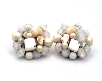Vintage Earrings, White Beaded Earrings, Clip On Earrings, Bridal Wedding Earrings, Statement Earrings, Pearl Earrings, Bridal Jewellery