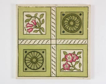Antique 1880s English Aesthetic Movement hand coloured pottery tile