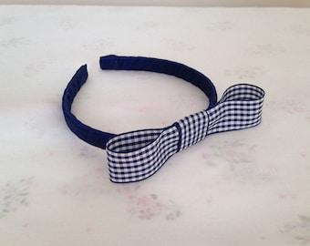 Blue Satin Girls Hairband Headband Alice Band Gingham Bow School Uniform