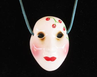 """Mask or Face Pendant Necklace - Vintage - Ceramic - 2-1/2"""" tall -  Cord - Vintage 1970s - Mardi Gras or Asian"""