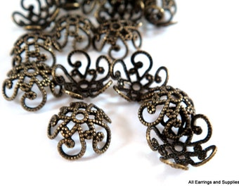 25 - 10mm Bead Caps Fancy Flower Antique Bronze Plated Brass - 25 pc - F4080BC-AB25