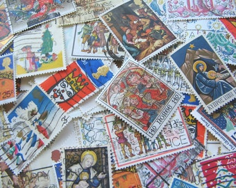 Christmas Vintage Postage Stamps Mix - Old Christmas Stamps - Postage Stamp - Worldwide Christmas Time Stamps - Christmas Themed Stamps