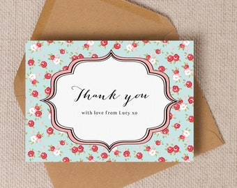 Personalised Vintage Rose Shabby Chic Thank You Note Cards