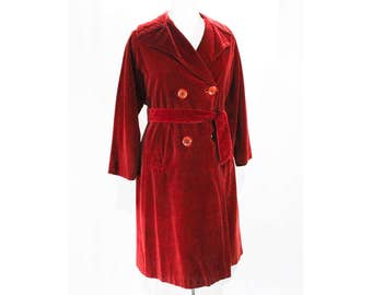 Size 14 Red Coat - Cranberry Velveteen 1950s Overcoat with Tie Belt & Pockets - Late 50s Early 60s Tailored Coat - Bust 40 - 48532