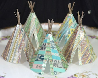 Edible Teepee's 3D x 5 Native Tribal Boho Tipi Wafer Paper Bohemian Wedding Cake Decorations Wild One Rustic Birthday Cupcake Toppers RTD