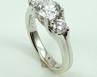 18K White Gold 3-Stone Engagement Wedding Anniversary Ring, CZ Center Stone with 2-Side Diamond at 0.53 Cts.
