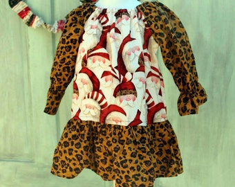 Santa and Leopard Print Peasant Dress.  Ready to Ship