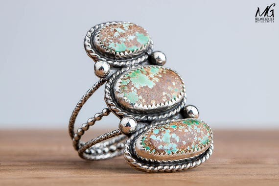 Green and Brown Royston Turquoise Ring in Sterling Silver