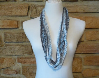 blue, gray and white scarf mixed media scarf, blue skinny scarf