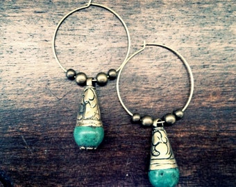 Tibetan Earrings,Turquoise Earrings,Tibetan Jewelry, Turquoise Hoops,Boho Earrings,Tribal Earrings,Turquoise Hoop Earrings,