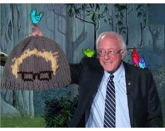 Hand knitted adult blue Bernie Sanders beanie. Feel the Bern. Protest march. Still Sanders hat