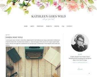 "Blogger Template, Blog Template - ""Kathleen | by Kate"" Instant Digital Download"