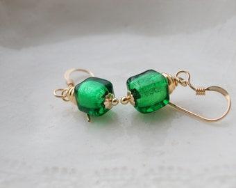 Tiny Cube Earrings, Murano Glass Earrings,  6mm Earrings
