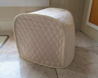 Khaki  2 Slice Toaster Cover Long Slot Fabric Quilted Kitchen Small Appliance Covers Made To Order