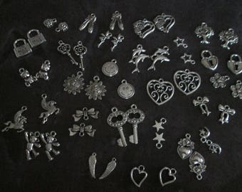 x 50 silver charms mixed 25 different patterns #D