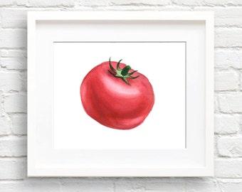 Tomato - Art Print - Kitchen Art - Wall Decor - Watercolor Painting