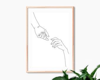 Gestural Hands Reaching Art Digital Download Printable Pen and Ink Line Drawing Modern Illustration Simple Poster