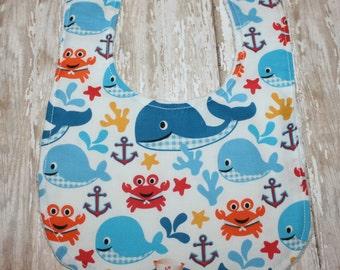 Baby Bib- Whale Baby Bib, Nautical Baby Bib, Minky Baby Bib, Whale Baby Bib, Baby Bib, Boy Baby Bib, Girl Baby Bib