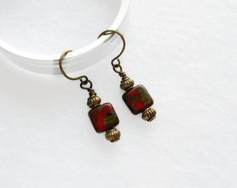 Czech Picasso Beads Red Green Brown Hand Wrapped Brass Earwires