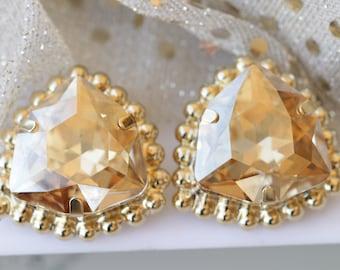 CHAMPAGNE STUD EARRINGS, Clip On Earrings, Wedding Earrings, Bridal Clip On Earrings, Gold Earrings, Big Swarovski Earrings, Elegant Jewelry