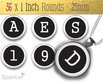 Black and White Typewriter Alphabet-One (1x1) Inch (25mm) Round Pendant Image -bottlecap images-digital sheet-scrapbooking -Buy 2 Get 1 Free
