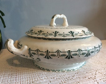 Antique French GIEN SESOSTRIS White & Green Ironstone Shallow Tureen, Antique Ironstone Serving Bowl, Gien Antique Ironstone Tureen