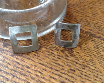 Square Sterling Silver Ring and Pendant-size 8