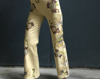 PAROSH hand embroidered floral motif hippie bell bottom sand colour pants, minty