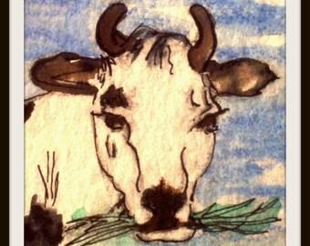 ACEO impression vache mangeant l'herbe est sur bristols lourd