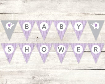 baby shower banner printable DIY bunting banner elephant purple grey polka dots baby girl hanging banner digital triangle - INSTANT DOWNLOAD