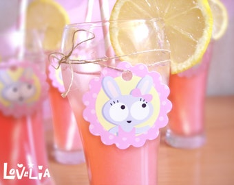 Label tags -Pink Bunnies-